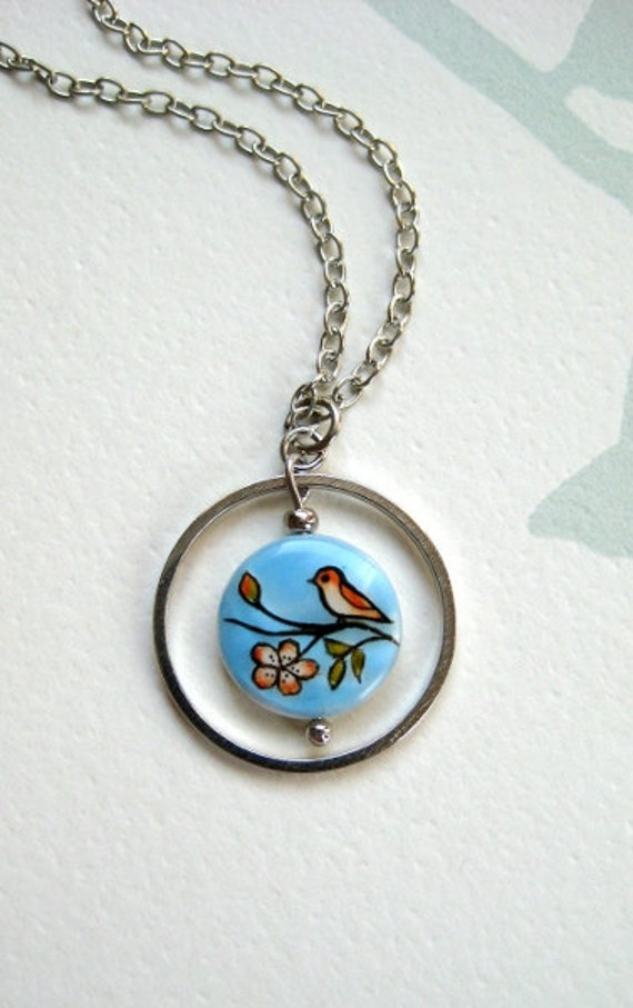 Little Bird Necklace, nature inspired jewelry, handpainted jewelry, bird fashion, spring jewelry, painted by hand necklace