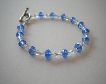 Clear & Blue Crystal Bracelet