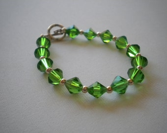 Green Crystal Bracelet - Small Wrists