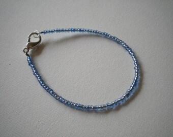 Blue Seed Bead Bracelet - Small Wrists