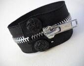 Zipped Up - Black Zipper Bracelet