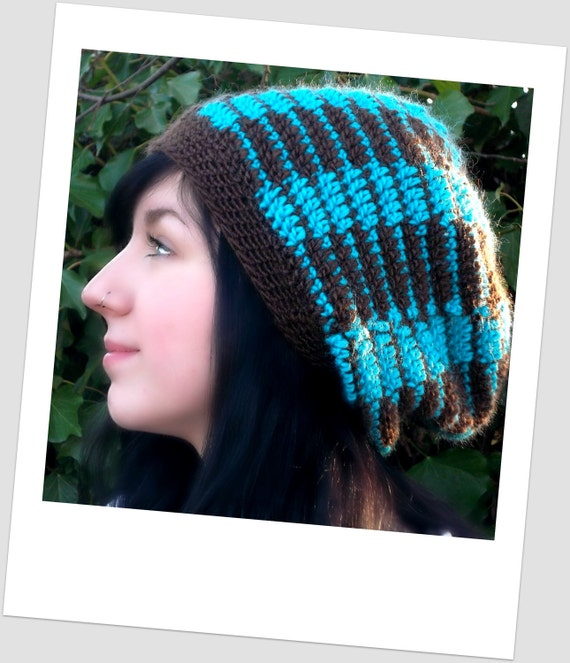 Crocheted Turqoise and Chocolate Brown Geometric Patterned Slouch Hat