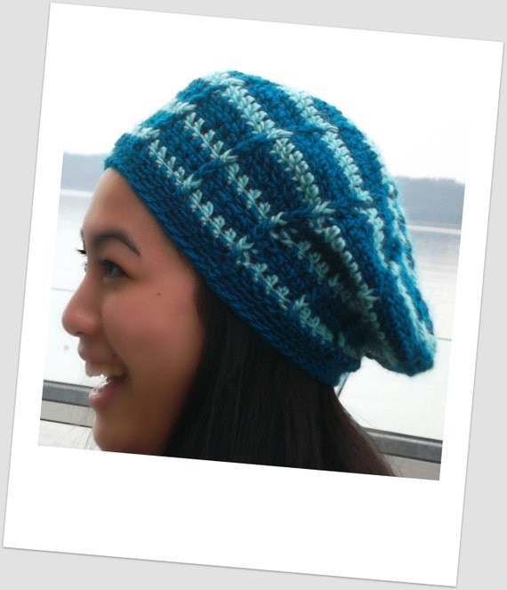 Teal and Aqua Striped Crochet Slouch Hat