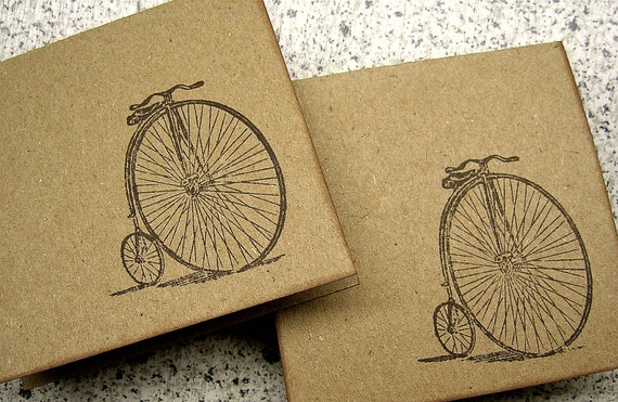 Bicycle Mini Notecards - Brown Kraft Cardstock - Set of 6 - Thank You, Gift Tag