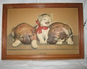 Cat and Dog Puffed Print Vintage/ Embossed Cat  C.1940s  SALE By Gatormom13