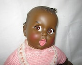 Vintage Doll GERBER BABY 20 inches Black Flirty Eyes Original clothing  C.1979
