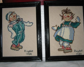 Raggedy Ann Raggedy Andy Dolls /Needlepoint Framed  Picture/ Mid Century Needlepoint/ c1960