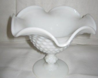 Milk Glass COMPOTE HOBNAIL National Imperial Glass/ Mid Century Compote/ c.1950s By Gatormom13
