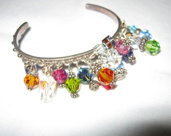 Sterling Silver Cuff Bracelet/ Gemstone Bracelet/ Sterling Silver Bracelet/Bohemian Bracelet/c.1990 JUST REDUCED By Gatormom13
