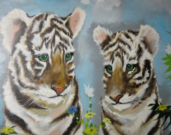 Mid Century Oil Painting/ Baby Tiger Cubs/ Artist Signed STALE c1960 By Gatormom13 JUST REDUCED
