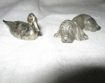 Spoontiques Pewter/Pewter Dog/ Pewter Duck/ Miniature Pewter Dog/Spoontiques Pewter Animals PAIR/ By Gatormom13