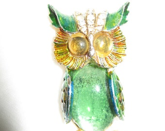 Owl Brooch / Pin ART Rhinestones By Gatormom13 JUST REDUCED