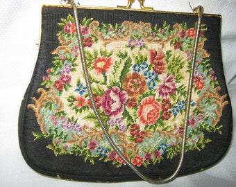 Handbag Petit Point Floral Design c1940  By Gatormom13 JUST REDUCED
