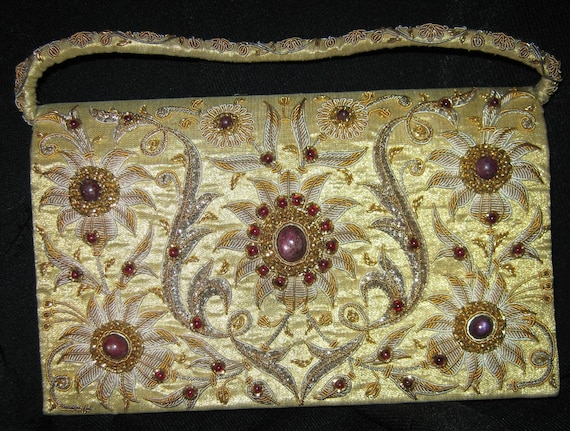 Vintage Purse Gold Silver BEADS/ STONES  c.1960  /Sale/
