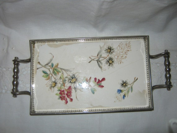 Antique Tray European Metal  Hand painted / Just Reduced//By Gatormom13