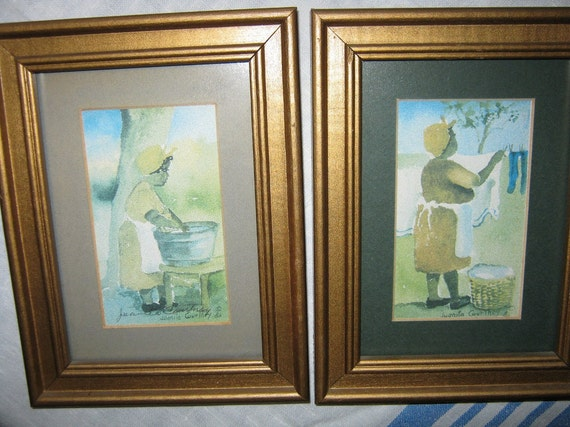 African American Watercolor Prints Juanita Courtney c1980s By Gatormom13  //JUST REDUCED//
