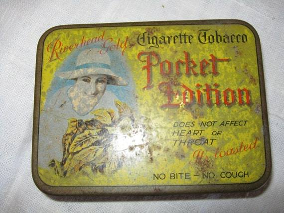 Reserved Please do not bid//Vintage Metal Tin Tobacco Riverhead Select Pocket Edition Cigarette Tin By Gatormom13