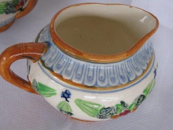 Vintage Majolica Made in Japan Sugar and Creamer Set 1930s MARUMON WARE By Gatormom13