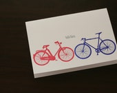 Hello There Bicycles 5x7 Letterpress Greeting Card