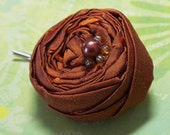 Rosette Bobby Pin in Copper Red Dupioni silk