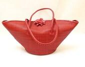 Vintage Red  Color Leather Woven Basket Style Shoulder Bag / Handbag / Tote Bag / EX-1008