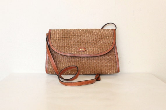 Natural look vintage Bally woven with tan leather trim, made in italy  cross body shoulder bag