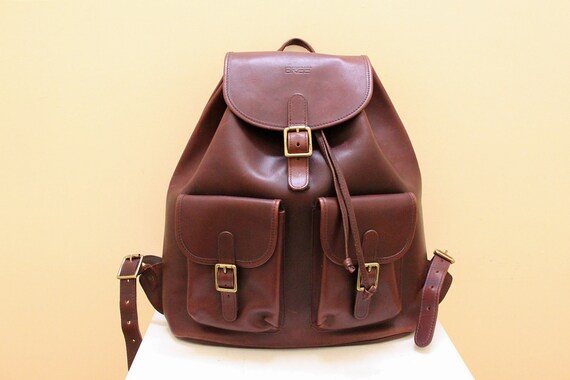 Vintage Reddish  Brown Leather Backpack by BREE //   Hand Made // Made In Germany
