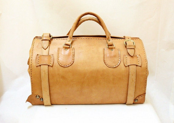 Vintage Tan Color Leather Travel Duffle Bag / Structured duffle bag