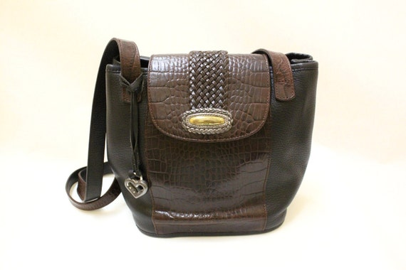 Vitnage Brighton Black Pebble Leather with Brown Alligator Leather Trim Shoulder Bag