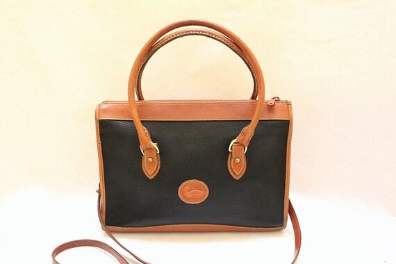Dooney and Bourke Black Color Pebble Leather and Tan Color Leather Trim Shoulder bag, Large size , Cross Body Shoulder Bag., Large Size Bag