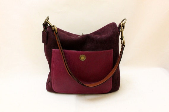 Vintage Coach Purple Suede Shoulder Bag with Magenta Pink Color Pebble Leather Pocket.