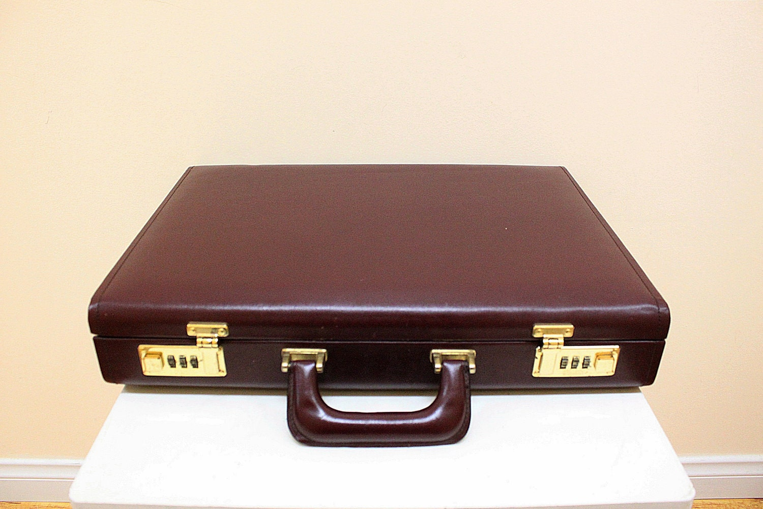 Vintage Wine Color Leather Hard Briefcase