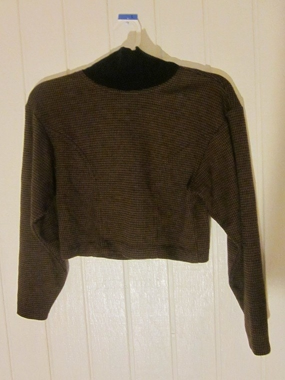 90s Grunge Brown Houndstooth Long Sleeve Cropped Top Sweater