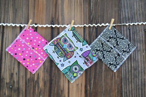 3 bags - Reusable Ecofriendly Sandwich Bag  and 2 Snack Bags - Funky owls and black fleurish