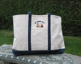 canvas tote bag with cute little camper embroidered on it. also have one with a class c rv.