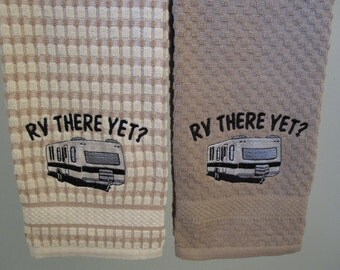 trailer kitchen towel beige check -green check - solid green,yellow pick color when ordering thank you