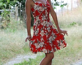 SALE Hawaiian Dress red flower print / summer dress / pin up