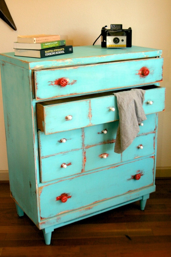 Shabby chic distressed vintage dresser teal red white free - Shabby chic bedroom sets for sale ...