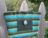 Green Striped UpCycled Felted Wool Purse/Handbag