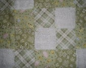 Reserved for Mermista - Hand Tied Flannel Baby Quilt - Farm Animals, Green and White