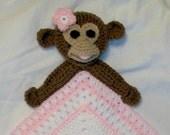 Crochet Girl Monkey Snuggle Blanket, Blanket, Lovie, Security Blanket, Baby Snuggle Blanket