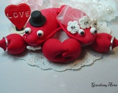 Custom Wedding Cake Toppe--Love Lobster Couple with Rings and Clay Ocean or Sand base-for Summer Beach Wedding