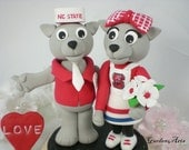 Custom Wedding Cake Topper--NC Wuf Unique College Mascot Love Couple with Circle Clear Base