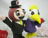 NEW--Custom College Mascot Wedding Cake Topper--Love Ohio State Brutus  & Ashland Eagles with Circle Clear Base