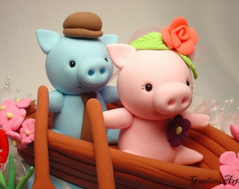 Custom Wedding Cake Topper--Pig Love with Sweet Boat and Ocean Base