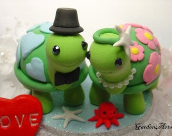 Customise Wedding Cake Topper--Happy Turtle Love with circle clear base- Special Patterns on Shell