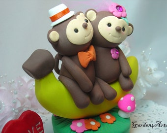 Custom Wedding Cake Topper--Banana Monkey Love with Clay Grass Base