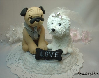 Wedding Cake Topper--Pug and Ihasa Spso Love Dogs with Love Bone and Beautiful Stand