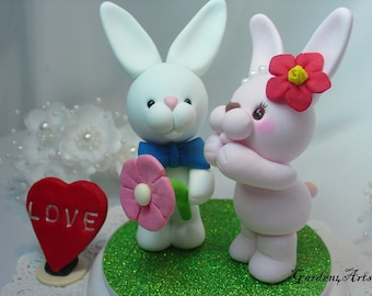 Love Wedding Cake Topper-- Sweet Bunny couple/ Groom hold a giant PINK flower with circle clear base