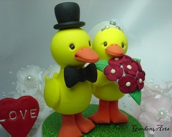 Wedding Cake Topper--Farm Theme- CuteYellow Duck Love / The Bride Hold a Red Flower Bouquet